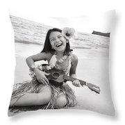 Girl And Her Ukulele Throw Pillow