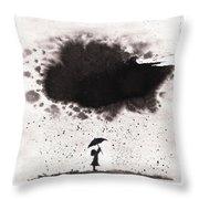 Girl And Ink Cloud Rain Throw Pillow