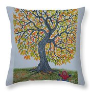 Girl And Leafs Throw Pillow