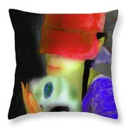 Girl And Puppy Painting Throw Pillow