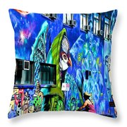 Girl And The Wall Throw Pillow