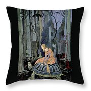 Girl And Turtle Throw Pillow