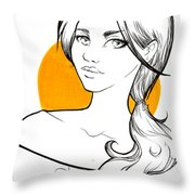 Girl And Yellow Throw Pillow
