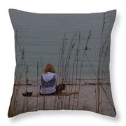 Girl At Beach Throw Pillow