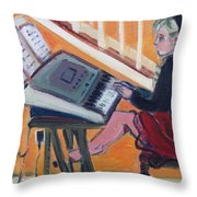 Girl At Keyboard Throw Pillow