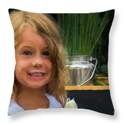 Girl At Market M1 10479vc Throw Pillow