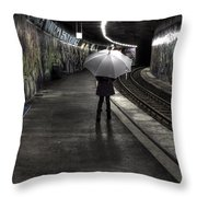 Girl At Subway Station Throw Pillow by Joana Kruse