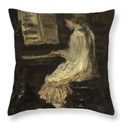 Girl At The Piano Throw Pillow