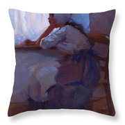Girl At The Window 1885 Throw Pillow