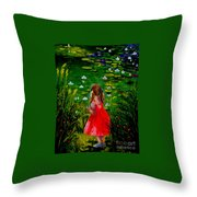 Girl By Lily Pond Throw Pillow