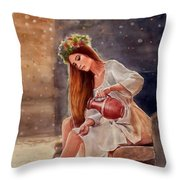 Girl By Water Spring Throw Pillow