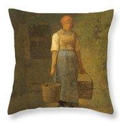 Girl Carrying Water Throw Pillow