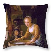 Girl Chopping Onions Throw Pillow