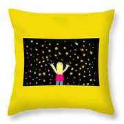 Girl Dancing With Fireflies Throw Pillow
