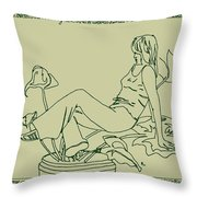 Girl Daydreaming In A Potted Plant Throw Pillow by Sheri Buchheit
