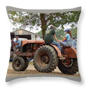 Girl Driving A Tractor Throw Pillow