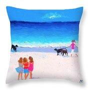 Girl Friends - Beach Painting Throw Pillow