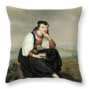 Girl From Hessen In Traditional Dress Throw Pillow
