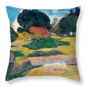 Girl Herding Pigs Throw Pillow by Paul Gauguin