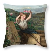 Girl Holding Up A Wreath Of Roses Throw Pillow