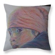 Girl In A Bandana Throw Pillow