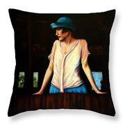 Girl In A Barn Throw Pillow