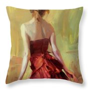 Girl In A Copper Dress I Throw Pillow