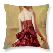 Girl In A Copper Dress II Throw Pillow
