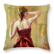 Girl In A Copper Dress IIi Throw Pillow