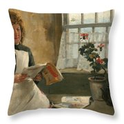 Girl In A Cottage Window Throw Pillow