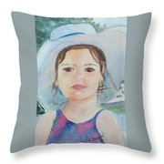Girl In A Hat Portrait Throw Pillow