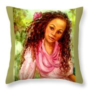 Girl In A Pink Dress Throw Pillow