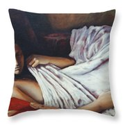 Girl In A Red Chair Throw Pillow