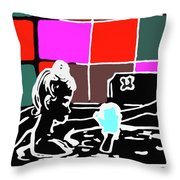 Girl In Bath Throw Pillow