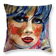 Girl In Blue And Gold Throw Pillow