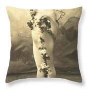 Girl In Body Stocking Holding Garland Of Flowers Throw Pillow