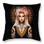 Girl In Bulgarian National Costume Throw Pillow
