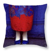 Girl In Colorful Flower Dress Throw Pillow