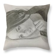 Girl In Deep Thoughts Throw Pillow