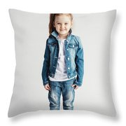 Girl In Jeans Clothes On White Background. Throw Pillow