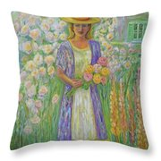 Girl In Monet's Garden At Giverny Throw Pillow