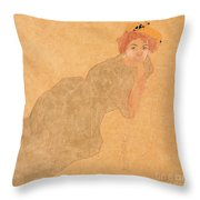 Girl In Olive Coloured Dress With Propped Arm Throw Pillow