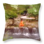 Girl In Orange Throw Pillow