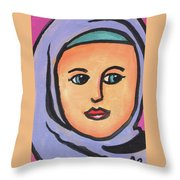 Girl In Purple Scarf Throw Pillow