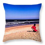 Girl In Red Dress Throw Pillow