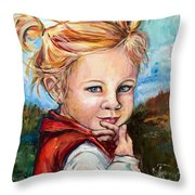 Girl In Red Jumper Throw Pillow