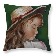 Girl In Ribboned Straw Hat Throw Pillow