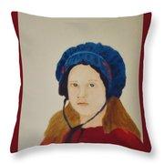 Girl In The Blue Bonnet Throw Pillow