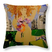 Girl In The City Throw Pillow