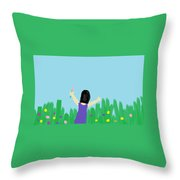 Girl In The Field Of Flowers Throw Pillow